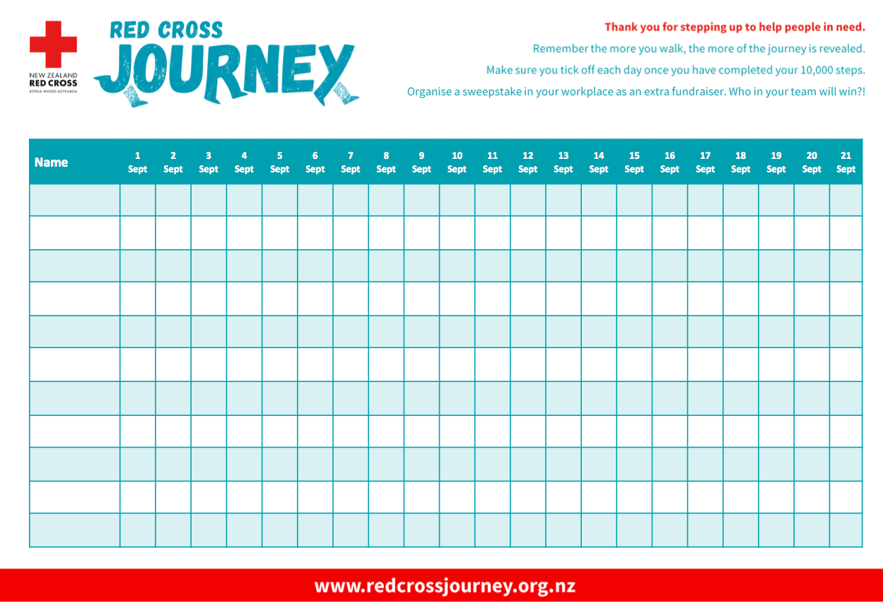 Step count tracking sheet
